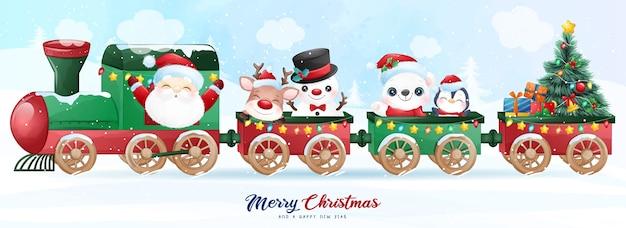クリスマスの日のイラストのために電車の中で座っているかわいい落書きサンタクロースと友達 Premiumベクター