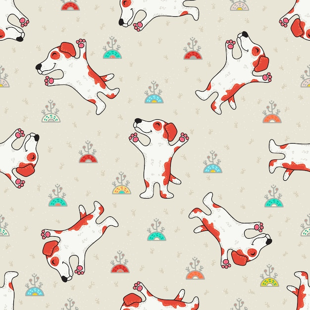 Cute doodle seamless pattern with dogs Premium Vector