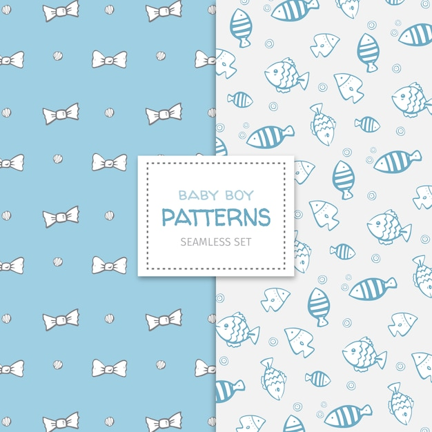 Cute Doodle Set Of Patterns For A Baby Boy Premium Vector