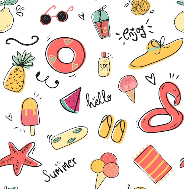 Cute doodle summer collection pattern seamless flat vector illustration Premium Vector