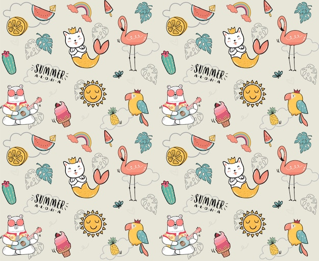 Cute doodle summer collection pattern Premium Vector