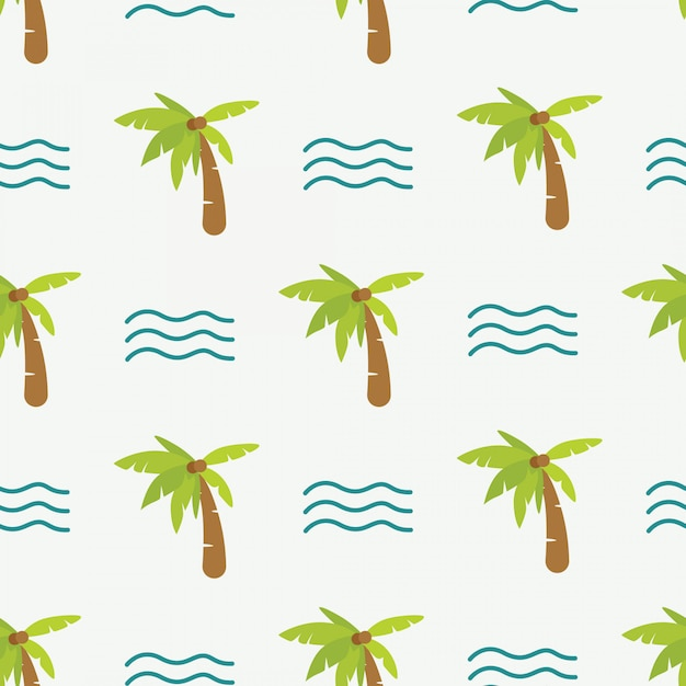 Cute doodle summer pattern with palm tree and waves Premium Vector