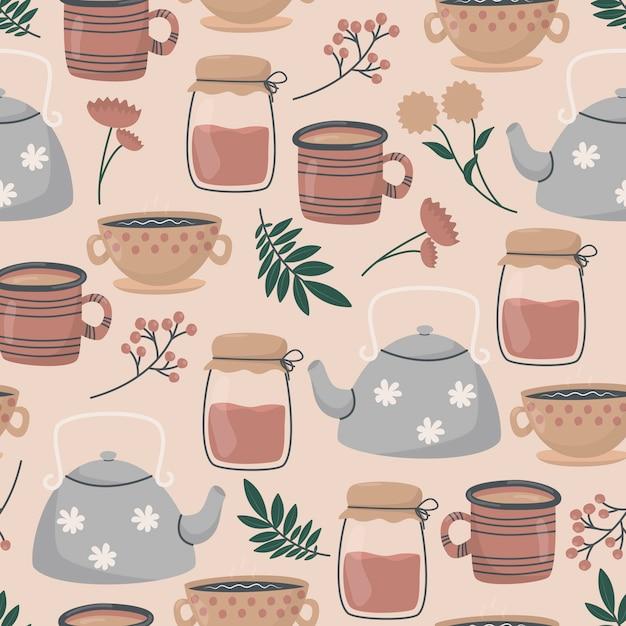 かわいい落書きのお茶とコーヒーカップ、ティーポットとガラスの瓶、葉と花の小枝。 Premiumベクター