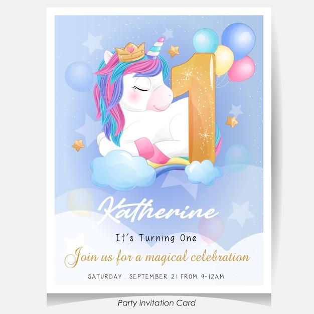 Cute doodle unicorn birthday party invitation card illustration Premium Vector