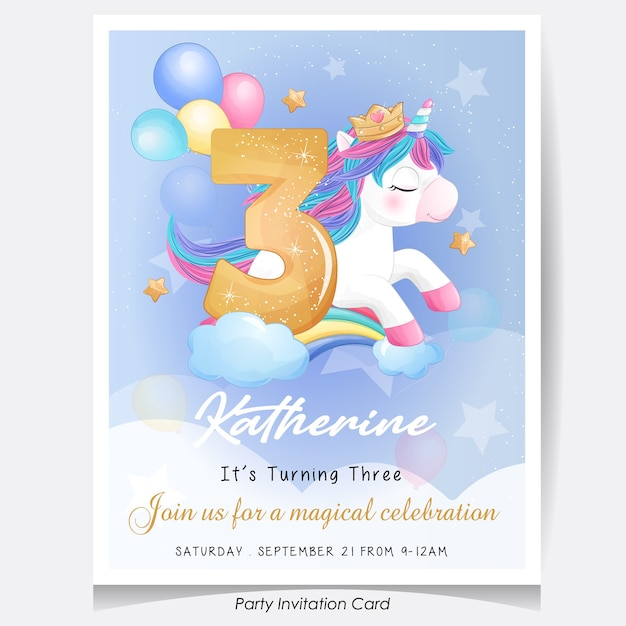 Cute doodle unicorn birthday party invitation card illustration Premium Vector