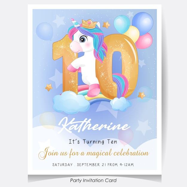 Симпатичный каракули единорог день рождения пригласительный билет иллюстрация Premium векторы