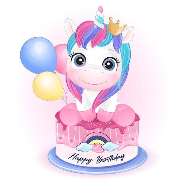 Cute doodle unicorn for birthday in watercolor style Premium Vector
