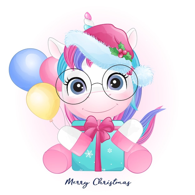 Cute doodle unicorn for christmas in watercolor style Premium Vector