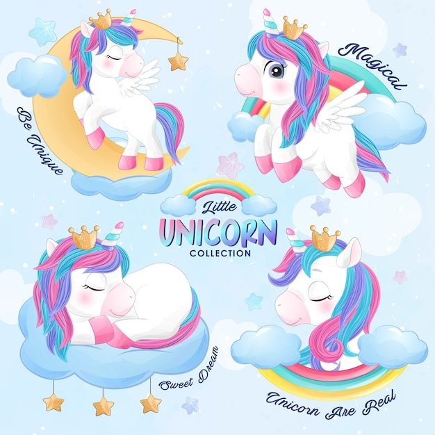 Cute doodle unicorn set in watercolor style Premium Vector