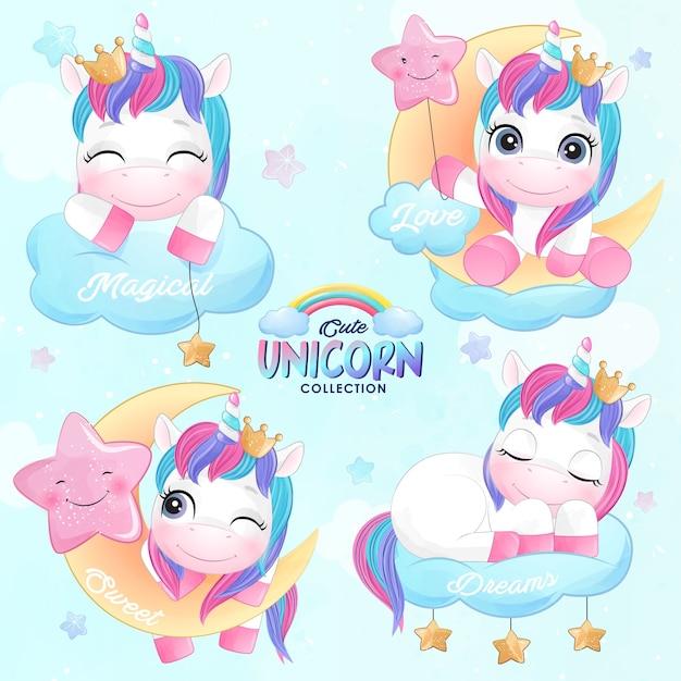 Cute doodle unicorn set in watercolor style Premium Vector