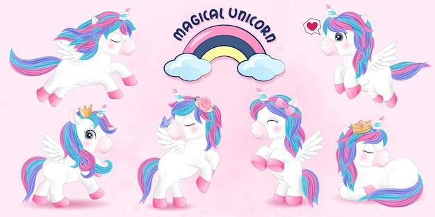 Cute doodle unicorn set with watercolor illustration Premium Vector