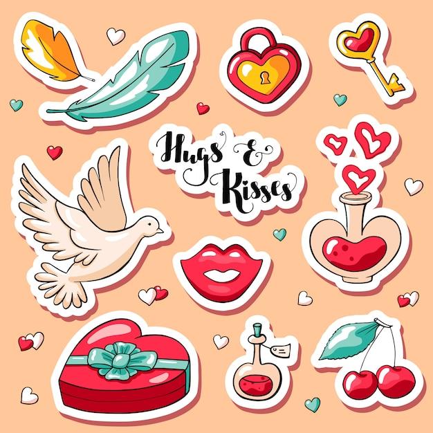 Cute doodle valentine's day stickers Premium Vector