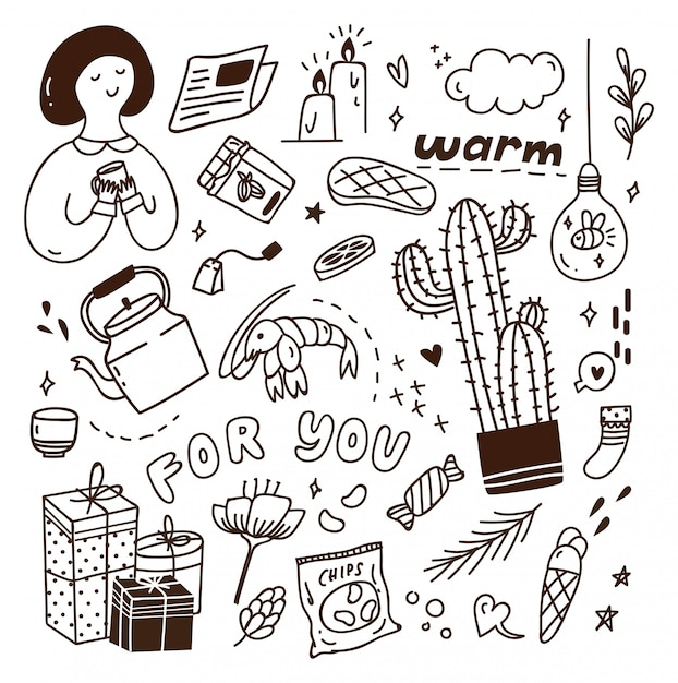 Cute doodle with mix of various objects Premium Vector