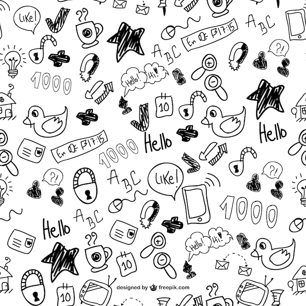 Cute Doodles Seamless Pattern Vector Free Download