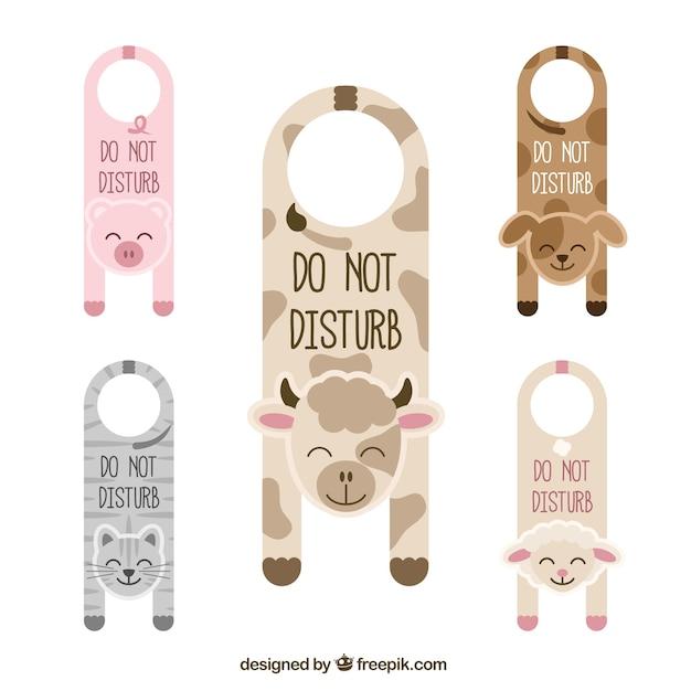 cute door hangers with animals vector free download