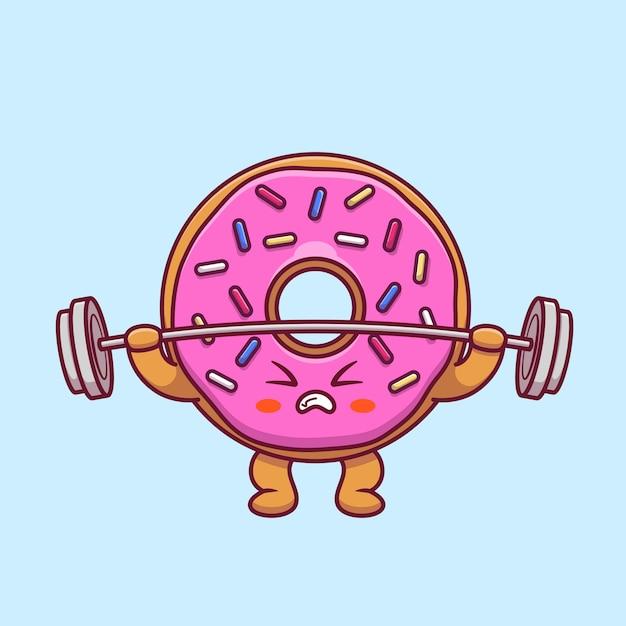 귀여운 도넛 리프팅 바벨 만화 프리미엄 벡터