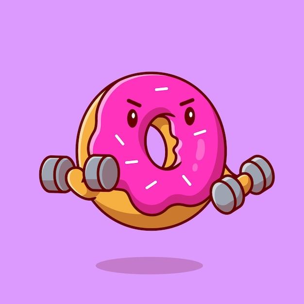 かわいいドーナツリフティングダンベル漫画ベクトルアイコンイラスト。食品健康アイコンの概念。フラット漫画スタイル Premiumベクター