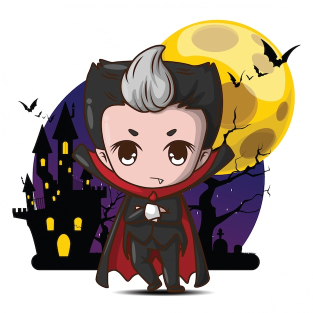 Cute dracula cartoon character in full moon. Premium Vector