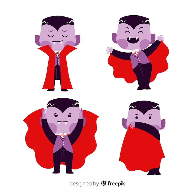 Cute dracula vampire with red cape Free Vector