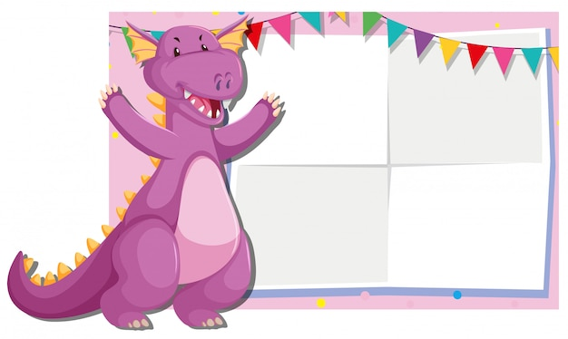Cute dragon frame background Free Vector