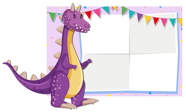 A cute dragon illustration on blank note background Free Vector