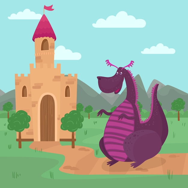 Premium Vector | Cute dragon standing in front of a castle, fairy tale  story for children illustration