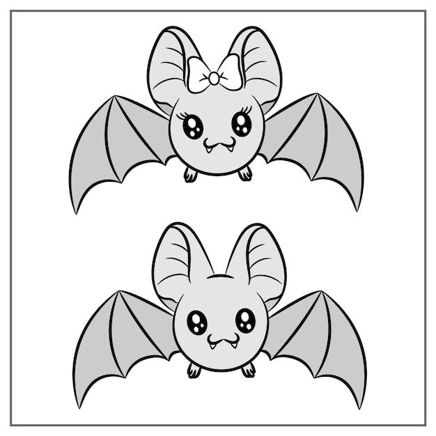 할로윈 귀여운 그리기 박쥐 프리미엄 벡터