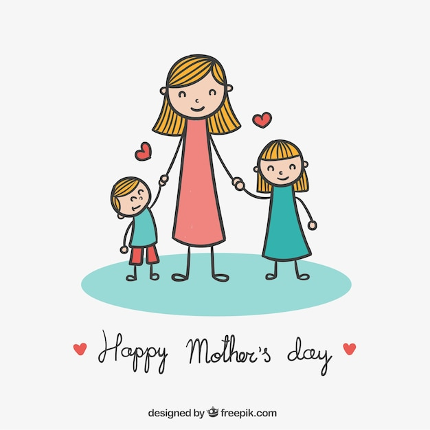Free Vector Cute Drawing For Mothers Day