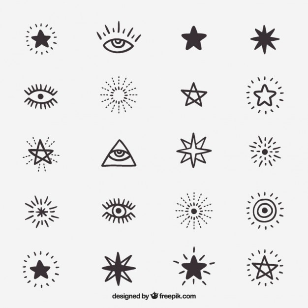 Cute Drawings Of Symbols And Stars Vector Free Download