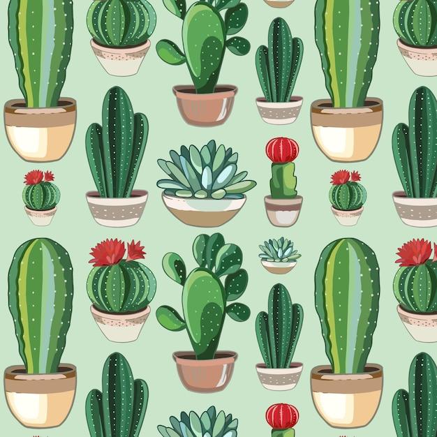 Cute drawn cactus pattern Free Vector