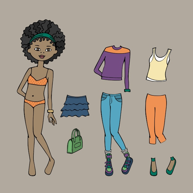 Cute dress up paper doll. body template, clothing and accessories Premium Vector