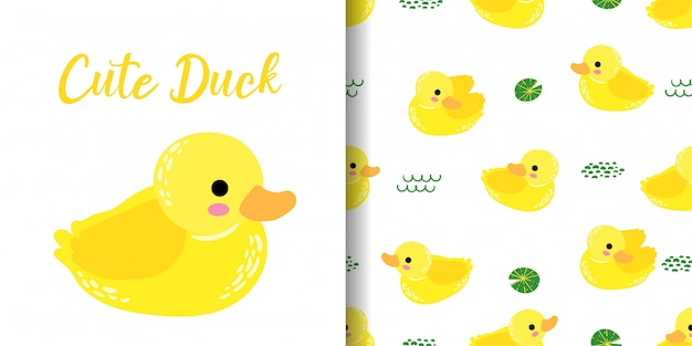 Cute duck animal seamless pattern with baby card Premium Vector