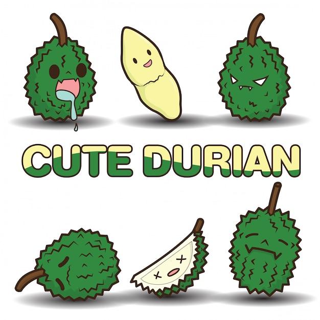 Cute durian cartoon Premium Vector