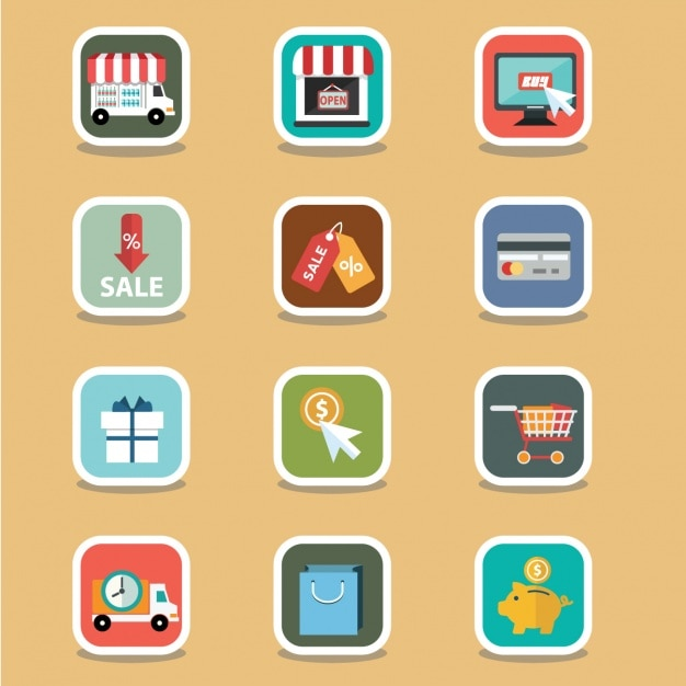 Cute e commerce elements Free Vector