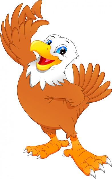 Cute eagle cartoon Premium Vector