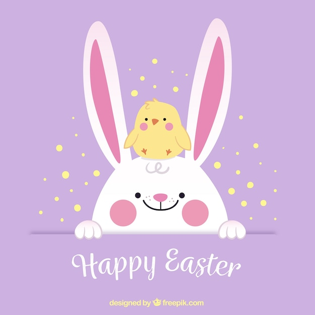 Cute easter background with chick and bunny Free Vector