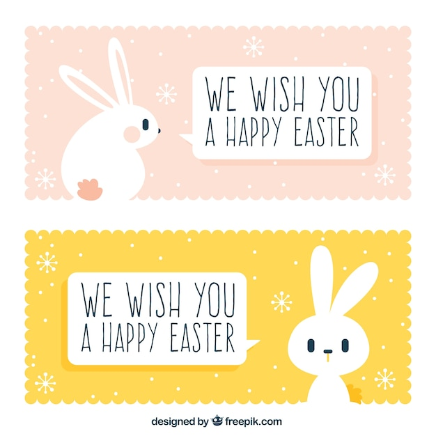 Cute easter banners with rabbit Free Vector