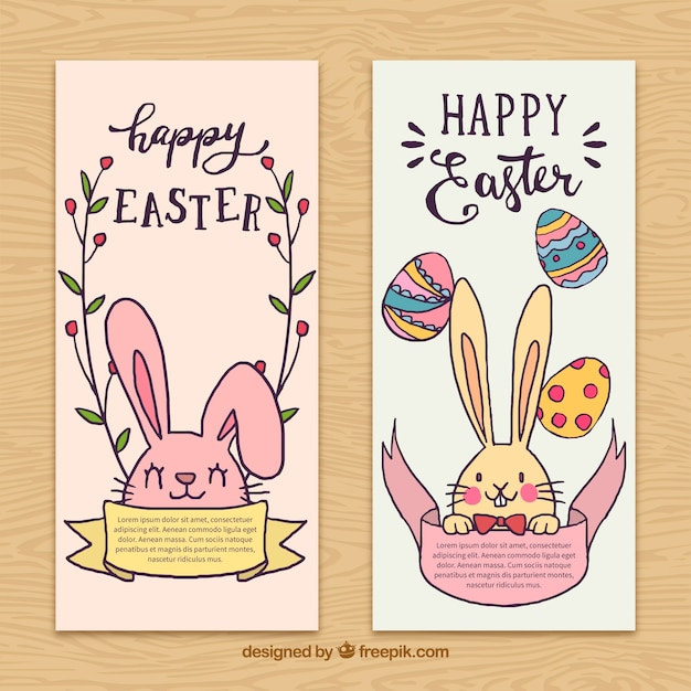 Cute easter banners with rabbits and eggs
