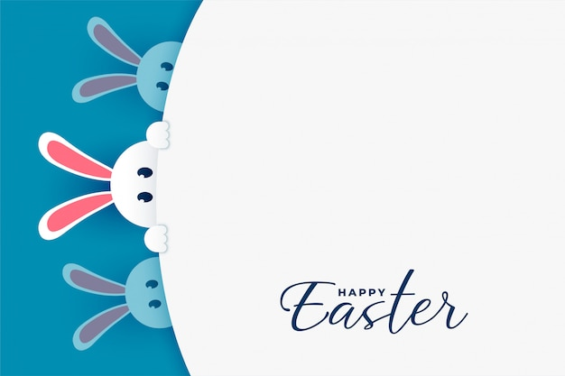 Cute easter bunny peeping out background Free Vector