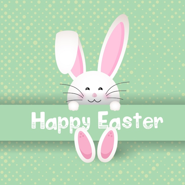 Cute easter bunny on polka dot background Free Vector