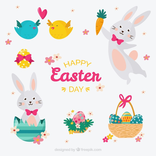 Cute easter day collection Free Vector