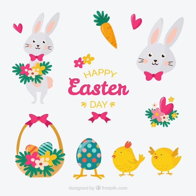 Cute easter day set Free Vector