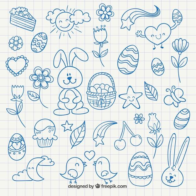 Cute easter drawings Free Vector