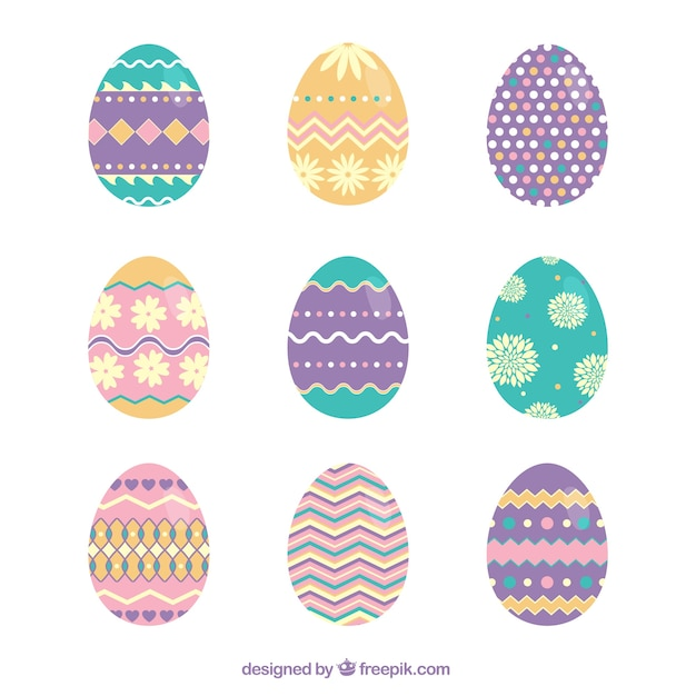 Cute Easter Eggs With Abstract Ornaments Premium Vector