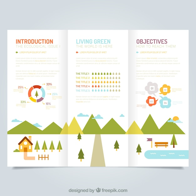 cute ecological leaflet template vector free download