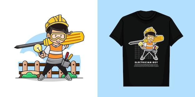 Tシャツのかわいい電気技師少年キャラクター Premiumベクター