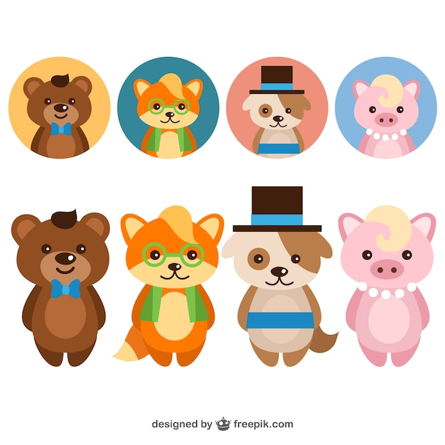 Avatar 2 Animals: Cute Elegant Animals Avatar Set Vector