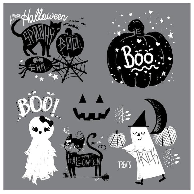 Cute elements hand drawn halloween Premium Vector