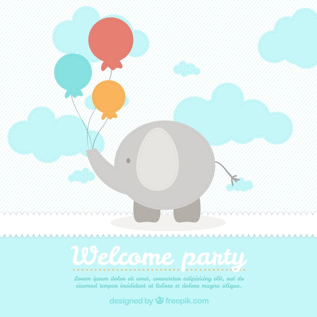 Cute Elephant Baby Shower Card Template Vector Free Download