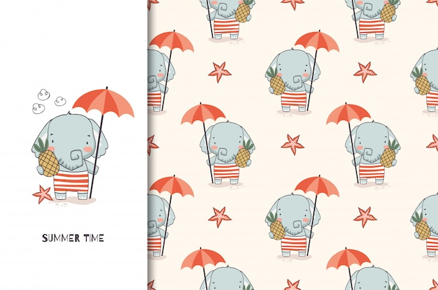 Cute elephant baby with umbrella and pineapple. jungle animal cartoon character and seamless pattern Premium Vector